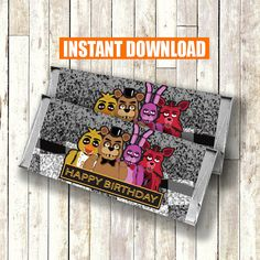 Five Nights at Freddy's Candy Bar Wrappers INSTANT by CocoDelava
