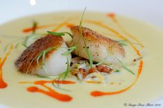 local corn soup with apple & bacon remoulade and smoked scallop