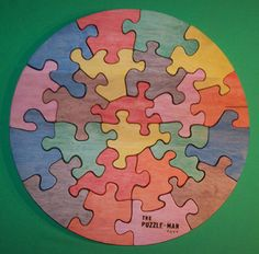 Wooden Educational brJig-Saw Puzzle br- 18 Circle, Hard Maple, Colored