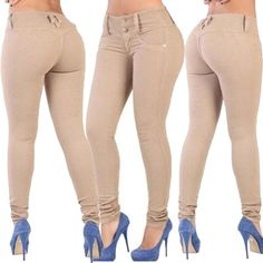 Patchwork Pure Color Long Slim Skinny Pants Jeans
