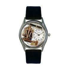 Lawyer Black Leather And Silvertone Watch