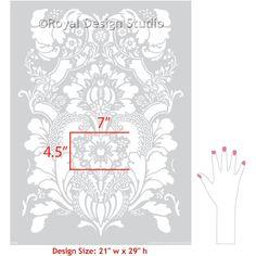 Elegant Flower Damask Pattern Painted on Accent Wall, Floors, or Ceilings - Lisabetta Damask Wall Stencils - Royal Design Studio