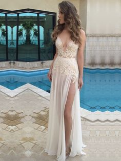 New Arrival A-line Chiffon with Appliques Lace Floor-length V-neck Ball Dresses