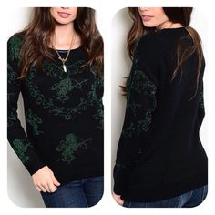 Angel Sweater  This comfy fit long sleeve sweater top features a lovely angel theme print. Sweaters Crew & Scoop Necks