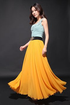 Yellow Chiffon Maxi Skirts Full Skirt Front Split by dresstore2000