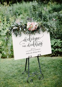 Welcome to our Wedding sign. Four (4) sizes included. Simply download, edit and print! ---------------------------------------------- How it works 1. Checkout and download the files 2. Open the PDF in Acrobat Reader - Free Download: www.get.adobe.com/reader 3. Add your own