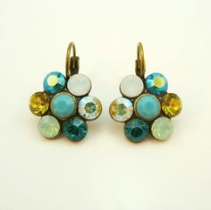 Teal Green drop earrings Lime Aqua Turquoise Mint by TIMATIBO