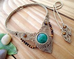 Selinofos Art: handcrafted macrame tribal jewelry! Gorgeous micro macrame necklace with a Chrysoprase cabochon and Tigers eye beads