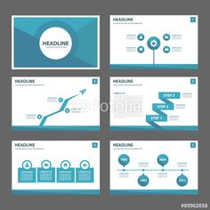 Vector: Blue polygon infographic presentation template flat design set for advertising and marketing
