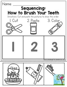Sequencing: How to Brush Your Teeth- Such a simple and effective way to get kids thinking about oral hygiene. January NO PREP Packet for Preschool