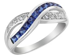Created Blue Sapphire Infinity Ring with Diamonds 1/2 Carat (ctw) in 10K White Gold, Women's, Size: 6.5