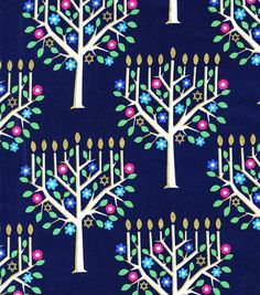 Holiday Inspirations Hanukkah Fabric Tree Of Light Metallic