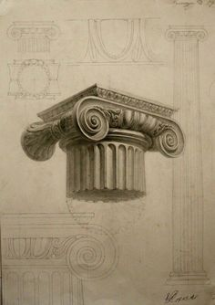 Apps Development PinWire: Ionic order tent - Ionic order appeared around 560 BC . 1 min ago - Ch d Architecture Antique, Ancient Greek Architecture, Classic Architecture, Architecture Drawings, Historical Architecture, Architecture Details, Architecture Student, Pencil Drawings, Art Drawings