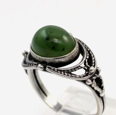 Vintage Russian/Soviet Union Era Sterling Silver/925 Green Jade Ring Size 6