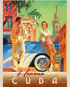 Cuba: Havana Shade - This series of romantic travel art is made from original oi. - Cuba: Havana Shade – This series of romantic travel art is made from original oil paintings by ar - Kunst Poster, Poster S, Photo Vintage, Retro Vintage, Vintage Havana, Vintage Cuba, Art Deco Posters, Vintage Travel Posters, Romantic Travel