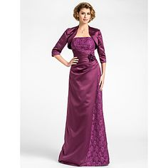 Sheath/Column Plus Sizes Mother of the Bride Dress - Grape Floor-length 3/4 Length Sleeve Lace/Satin – USD $ 89.99