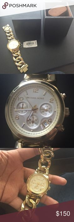 Gold watch Gold MK bracelet watch authentic Michael Kors Accessories Watches