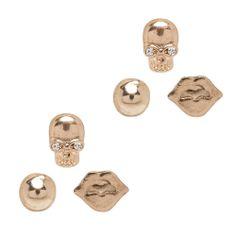 I love the STEPHAN & CO. Skull & Lips Earring Set from LittleBlackBag