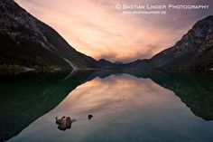 Sunset at lake Plansee in Austria. See more landscape photos at www.bastianlinder.de