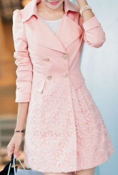 Love a jacket with some cute, feminine details... Double Breasted Lapel Lace Print Long Coat