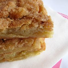 "Snickerdoodle Blondies:  1 C. butter; 2 C. sugar; 1/2 t. salt; 2 lg eggs; 1 T. vanilla extract; 2 C. all purpose flour; 2 T. sugar + 2 t. ground cinnamon __Preheat oven to 350F. Line 9x13"" baking pan with foil, spray w cooking spray.  Cream together butter & sugar. Beat in salt, egg & vanilla. Stir in flour. Pour dough into pan; use fingers to pat it down evenly.  Stir together 1 T. sugar & 1 t. cinnamon. Spread over dough.  Bake abt 30 min., until bars are set and edges are just lightly…"