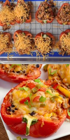 Stuffed peppers - This simple dinnerrecipe is only a few ingredients and is a crowd pleaser every time! Your family will love these stuffedpeppers! Gourmet Recipes, Beef Recipes, Mexican Food Recipes, Low Carb Recipes, Cooking Recipes, Healthy Recipes, Best Food Recipes, Simple Food Recipes, Chicken Recipes