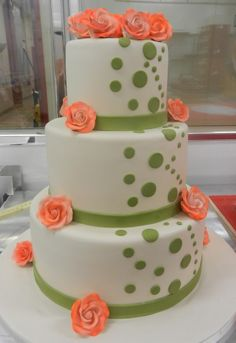 Polka dots and peach flowers!