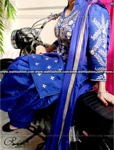 Elegant Royal Blue Embroidered Punjabi  Suit