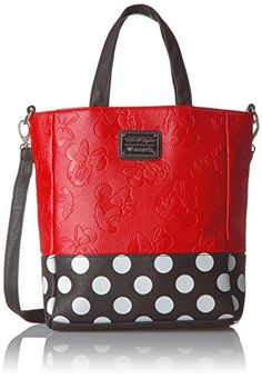 Women's Shoulder Bags - Loungefly Disney Minnie Embossed WPolka Dots Tote Red ** See this great product.