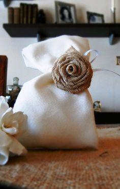 Wedding Favor Bags with handmade burlap flower on Etsy, $2.00