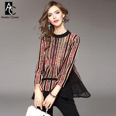 spring summer runway designer womans shirts blouse red flower strip print black patchwork fashion vintage loose plus size blouse