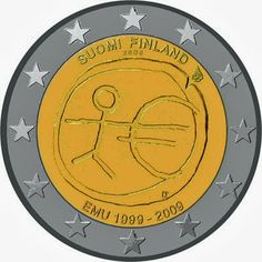 2 Euro Commemorative Coin Finland 2009 Economic Monetary Union. 2 euro coins from Finland