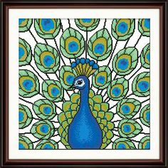 Peacock  Cross stitch pattern pdf by sunshinehomedecor on Etsy, $5.50