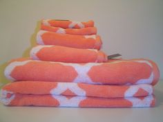 Cynthia Rowley Peach Coral Amp White Quatrefoil 3pc Towel
