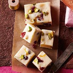 White Chocolate Christmas Fudge: This five-ingredient fudge is simplicity, squared: Just melt, stir, spread, cool and cut.  Recipe: http://www.midwestliving.com/recipe/white-chocolate-christmas-fudge/