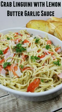 Of course I cook this gluten free, using Shirataki pasta zero, but the recipe works well with real crab. Amy Crab Linguini with Lemon Butter Garlic Sauce - Sippy Cup Mom Crab Meat Pasta, Crab Pasta Recipes, Seafood Recipes, Dinner Recipes, Crab Shrimp Pasta Recipe, Crab Pasta Salad, Spinach Recipes, Potato Recipes, Salad Recipes