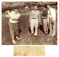 """Babe Golfs With Some Comic Guys (St. Petersburg, FL - January 9, 1936) - """"BABE GOLFS IN FLORIDA SUN: Babe Ruth, the former home run king, kisses a long 250 yard drive down the fairway on his first day workout in St. Petersburg, Fla. His playmates are (left to right) - Frank Willard (Moon Mullins), Billy DeBeck (Barney Google), comic strip artists, and Floyd Gullickson, Cleveland, Ohio, golf pro."""""""