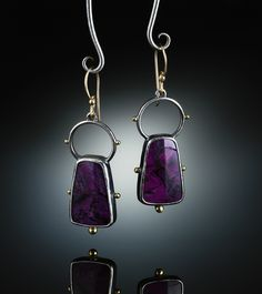 Sugilite Earrings.  Fabricated Sterling Silver, 14k  18k. www.amybuettner.com https://www.facebook.com/pages/Metalsmiths-Amy-Buettner-Tucker-Glasow/101876779907812?ref=hl https://www.etsy.com/people/amybuettner