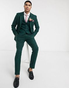 ASOS DESIGN wedding slim suit in wool mix texture in green | ASOS Beach Wedding Groom Attire, Wedding Men, Wedding Suits, Dream Wedding, Wedding Ideas, Prom Suits For Men, Mens Suits, Dark Green Suit Men, Casual Groomsmen Attire