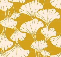 ginkgo leaves print mustard fabric by frumafar for...