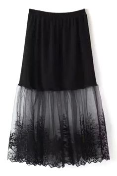 Lace Mesh Spliced A Line Skirt BLACK: Skirts | ZAFUL