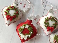 Discover more about Homemade Christmas Decorations Felt Christmas Decorations, Christmas Ornaments To Make, Christmas Makes, Homemade Christmas, Christmas Projects, Holiday Crafts, Christmas Crafts, Kids Christmas, Christmas Sewing Gifts