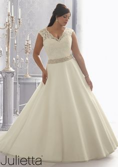 Wedding Dress From Julietta By Mori Lee Dress Style 3166 Embroidered Lace on an Organza Wedding Gown Trimmed with Crystal Beading