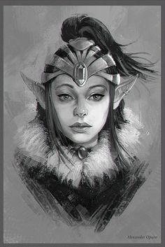 Elf_girl девушки, цифровой рисунок, Portrait painting
