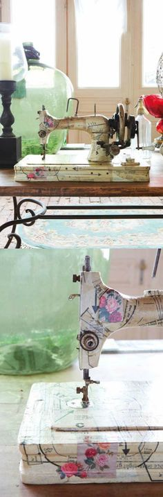 How to decoupage a sewing machine with pattern pieces - so pretty!
