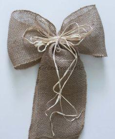 Rustic Burlap Wedding Pew Bows, Large Jute Burlap  Bows by greentraderllc,