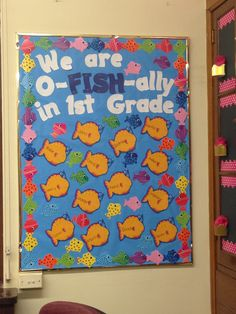 bulletin board - could do  o-FISH-ally summer, in JR HIGH, etc