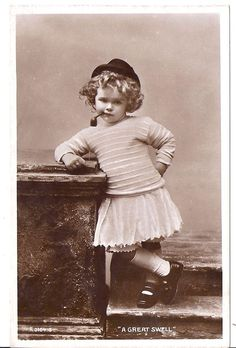 """Shirley Temple ? Real Photo Postcard  w/ Pipe RPPC """"A GREAT SWELL"""""""