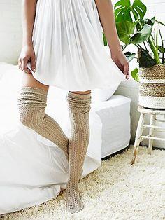 Hammock Thigh High | Textured comfy thigh high socks.