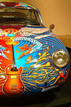 Janis Joplin's Porsche (a 1965 356 Cabriolet). She bought it in September 1968 at the height of the era of flower power, and had it hand painted by a friend. She still owned it at the time of her death in October 1970. This was part of the Psychedelic Exhibition in Tate Liverpool in 2005. As of May 2007 it is in the Whitney Museum in New York.